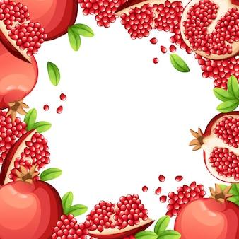 Muster von granatapfel und frischen samen von granatäpfeln. illustration mit leerem raum und geöffnetem granatapfel für dekoratives plakat, emblem-naturprodukt, bauernmarkt. webseite