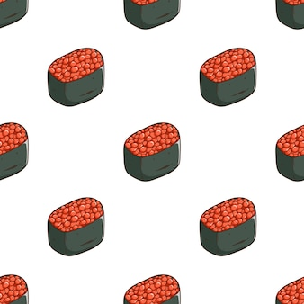 Muster von ikura-sushi mit farbigem skizzenstil