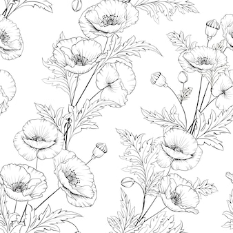 Muster von mohnblumenblumen auf einem weißen hintergrund.