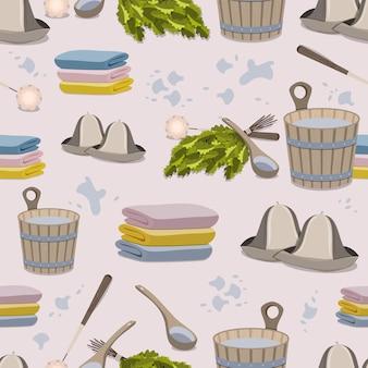 Muster von saunazubehör. flache illustration.