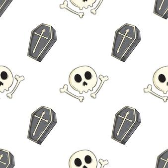 Muster von schädel und sarg für halloween