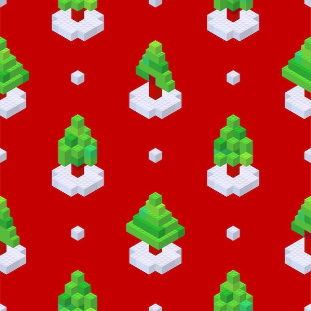 Muster von weihnachtsbäumen, die aus würfeln auf rotem hintergrund im isometrischen stil gesammelt wurden. vektor-illustration.
