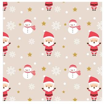 Muster von weihnachtsmann und von schneemann