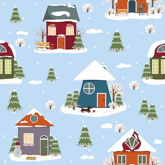 Muster von winterweihnachtshäusern, farbvektorillustration.