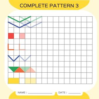 Muster wiederholen, pazzle. bild kopieren. speziell für vorschulkinder. druckbares arbeitsblatt für kinder zum üben der feinmotorik. farben lernen. aufmerksamkeitsübung. ressourcen für lehrer. gelber vektor