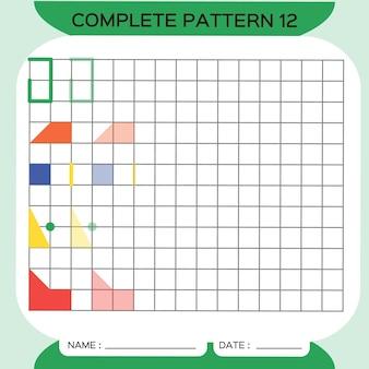 Muster wiederholen, pazzle. bild kopieren. speziell für vorschulkinder. druckbares arbeitsblatt für kinder zum üben der feinmotorik. farben lernen. aufmerksamkeitsübung. ressourcen für lehrer. grün. vektor