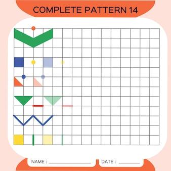 Muster wiederholen, pazzle. bild kopieren. speziell für vorschulkinder. druckbares arbeitsblatt für kinder zum üben der feinmotorik. farben lernen. aufmerksamkeitsübung. ressourcen für lehrer. orange. vektor