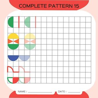 Muster wiederholen, pazzle. bild kopieren. speziell für vorschulkinder. druckbares arbeitsblatt für kinder zum üben der feinmotorik. farben lernen. aufmerksamkeitsübung. ressourcen für lehrer. rot. vektor.