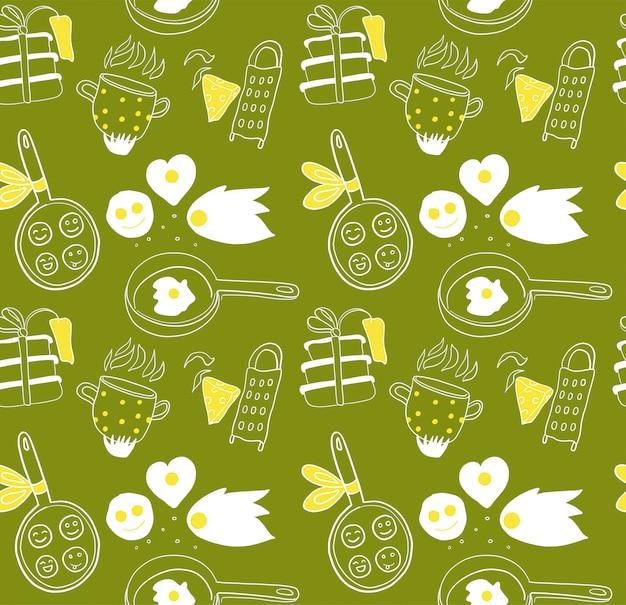 Muster zum kochen von konzept. gezeichnete elemente des gekritzels hand auf grünem hintergrund.
