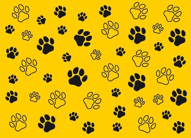 Musterabdrücke eines hundes oder einer katze. isolierter silhouettenvektor.