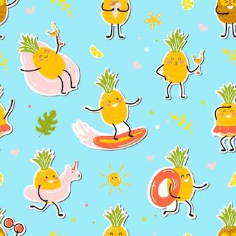 Musteraufkleber mit ananas kawaii. süße früchte genießen den urlaub. cartoon-stil.