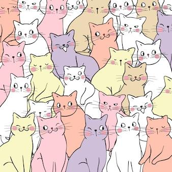 Musterhintergrund des bunten Pastells der Katzen