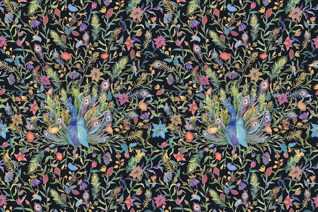 Musterhintergrund mit aquarellpfau- und blumenillustration