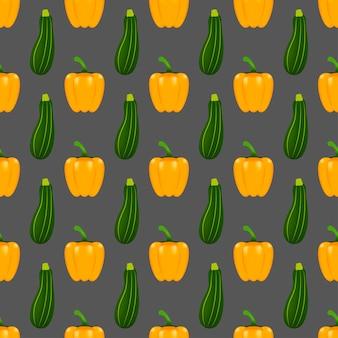 Musterhintergrund mit gemüse. design für grußkarten, sommereinladungen, trendiger stoff, einfache verzierung, texturvorlage, stilvolles layout. vektor-illustration.
