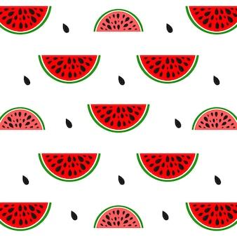 Musterhintergrund mit wassermelone. design für grußkarten, sommereinladungen, trendiger stoff, einfache verzierung, texturvorlage, stilvolles layout. vektor-illustration.