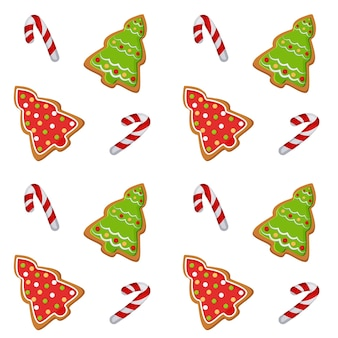 Musterillustration mit einem bild von weihnachtsplätzchen