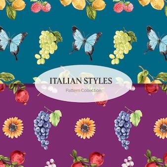 Musternahtlose vorlage mit italienischem stil im aquarellstil