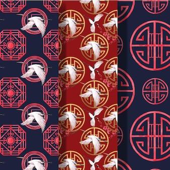 Musterschablone mit aquarellillustration des glücklichen chinesischen neujahrskonzeptdesigns