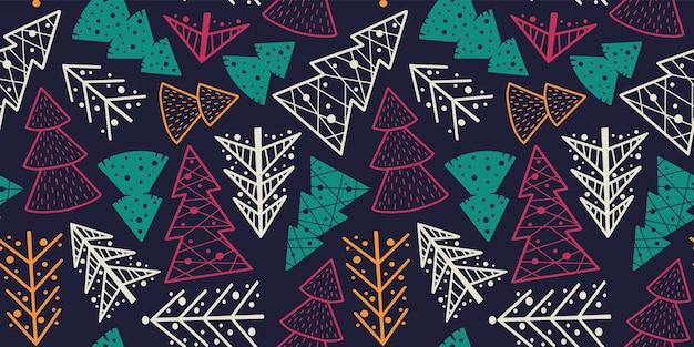 Mustertapete mit weihnachtsfichte neujahr