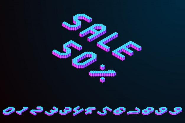 Mutige bunte isometrische fahne des pixels 3d