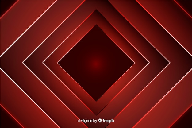 Mutige diamantformen im hintergrund des roten lichtes