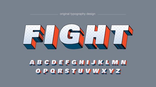 Mutige orange blaue typografie der karikatur-3d