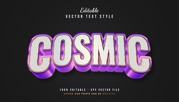 Mutiger kosmischer textstil in weiß und lila farbverlauf mit geprägtem effekt