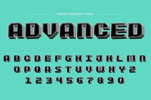 Mutiger schwarzer typografie-entwurf der abschrägung 3d