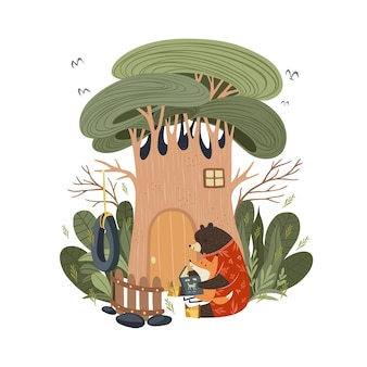 Mutter bär liest märchengeschichte vor dem schlafengehen im wald vor dem schlafengehen einem babyfuchs