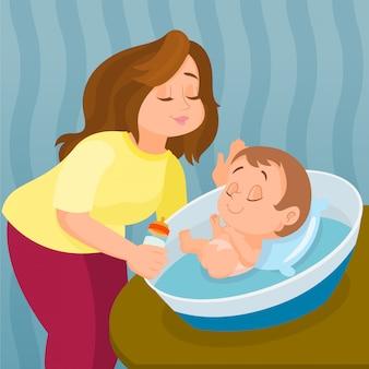 Mutter, die baby mit milch in der flasche einzieht
