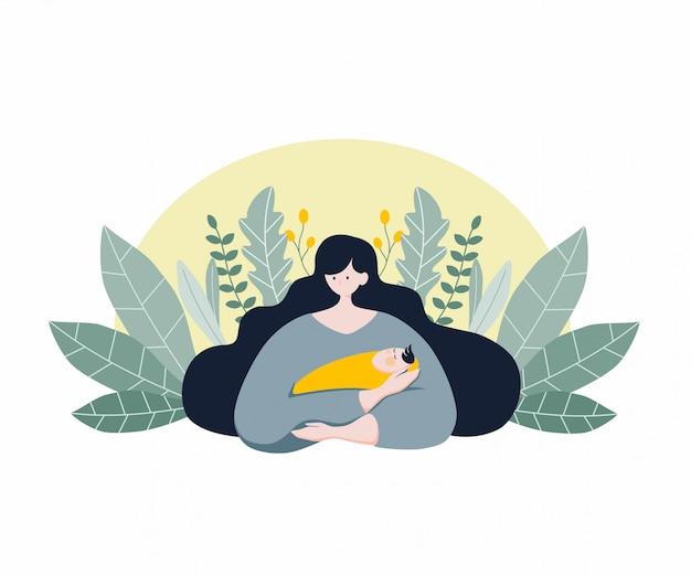 Mutter, die ein schlafendes baby in ihrem arm mit blatthintergrund hält