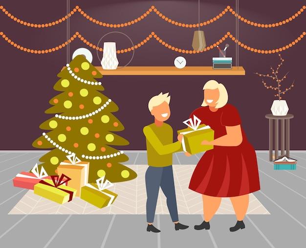 Mutter, die geschenkgeschenkbox zum kleinen sohn frohe weihnachten winterferienfeierkonzept modernes wohnzimmerinnenraum in voller länge horizontale vektorillustration gibt