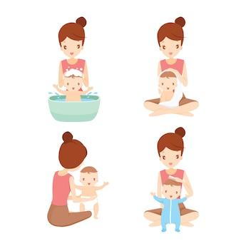 Mutter, die haare wäscht, badet und ihr baby mit liebe kleidet