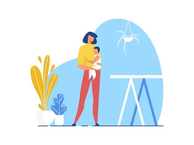 Mutter, die in der hand ausschnitt-illustration des babys hält