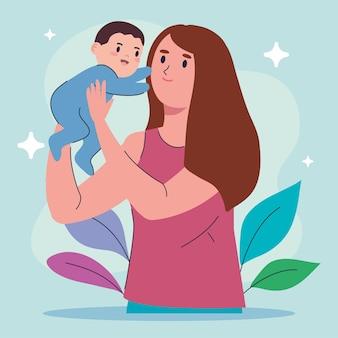 Mutter, die sohnbaby hebt