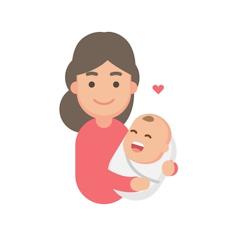 Mutter, die süßes baby hält