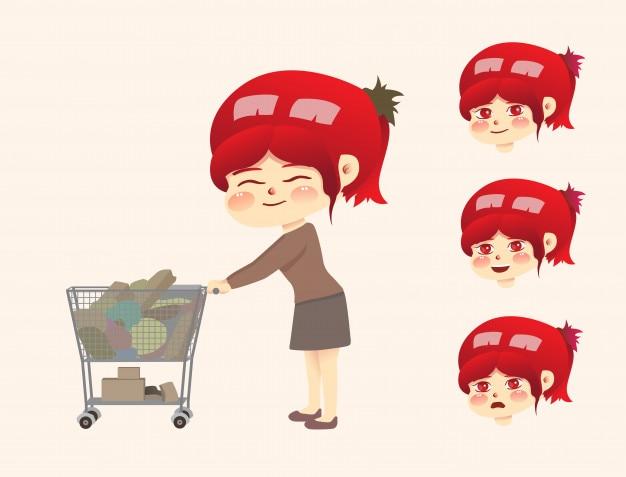Mutter einkaufen grundbedürfnisse auf dem markt.