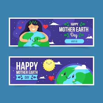 Mutter erde tag banner im flachen design