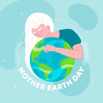 Mutter erde tag mit frau, die den planeten hält
