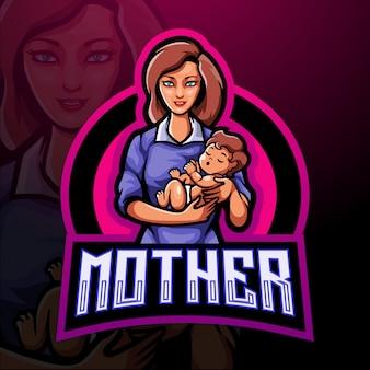 Mutter esport maskottchen logo vorlage
