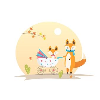 Mutter fox und baby fox in der wagen-tier-charakter-vektor-illustration