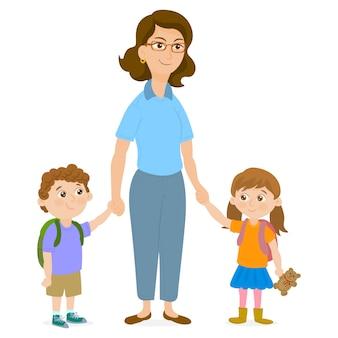 Mutter führt ihre kinder zur schule