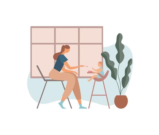 Mutter füttert baby in der küche. illustration