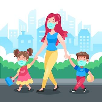 Mutter geht mit ihren kindern, die maske tragen