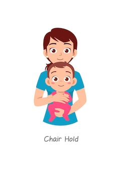 Mutter hält baby mit pose namens chair hold