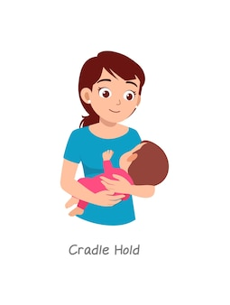 Mutter hält baby mit pose namens cradle hold