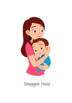 Mutter hält baby mit pose namens snuggle hold