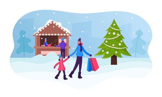 Mutter hält tochter von hand und papiertüten mit geschenken für weihnachten und neujahrsfeier. karikatur flache illustration