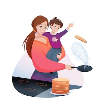Mutter kocht frühstück. karikaturmuttercharakter, der pfannkuchen kocht, jungenkind in händen hält