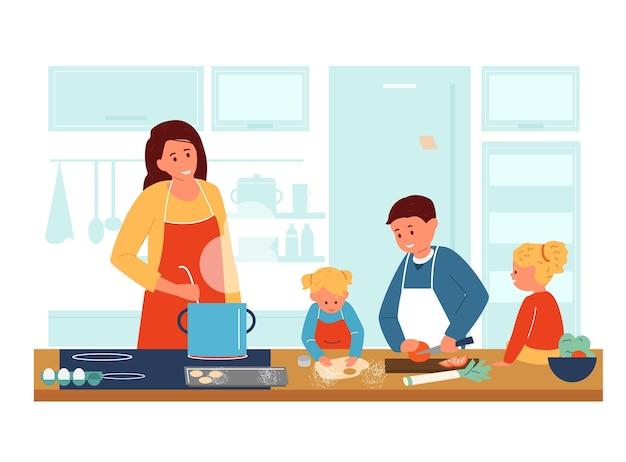 Mutter kocht mit kindern in der küche. kinder in schürzen helfen der mutter beim abendessen.